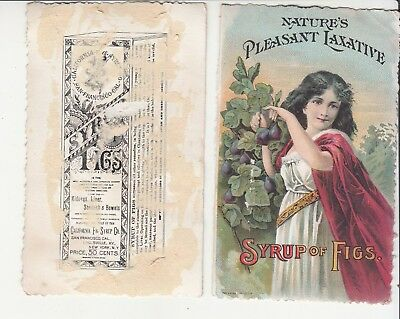 2 Syrup of Figs Laxative Girl Red Cape California Louisville KY Vict Card c1880s