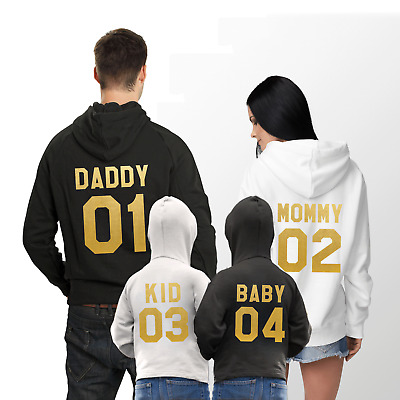 Mommy Daddy Kid Baby Matching Family Hoodies Custom Number Gift Idea For Parents