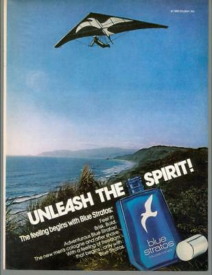 1981 Blue Stratos Mens Cologne Hang Glider Spirit Fragrance Vintage Print Ad 80s