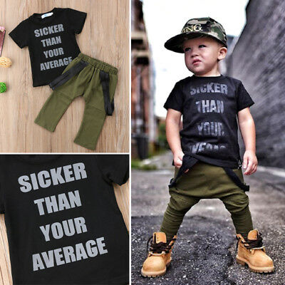 US Stock Kids Baby Boys Short Sleeve Top T-shirt Harem Pants Outfits Set Clothes