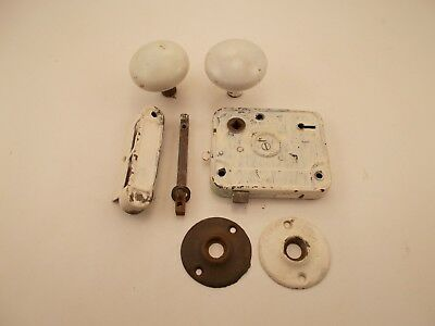 Vintage Door Knob Set White Porcelain With Hardware.