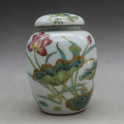 Chinese old porcelain famille rose lotus tea caddy hand-made