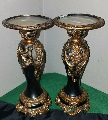 PAIR OF LOVELY Vtg BLACK/GOLD Art Deco Style ORNATE SYROCO Candle Holders!
