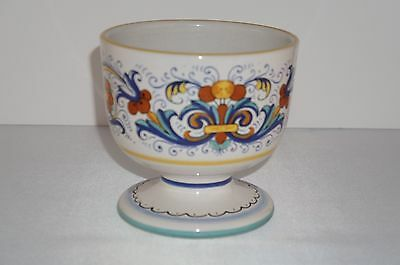 Deruta Ceramiche Italy Footed Pedestal Bowl Hand Painted Yellow Blue