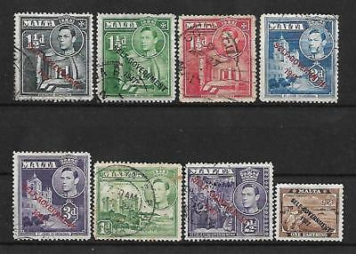 Malta  20Th Century Group Of 8 Used  Stamps.