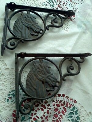 Set / 2 Rustic Cast Iron Horse Head Shelf Support Wall Brackets Western Lodge