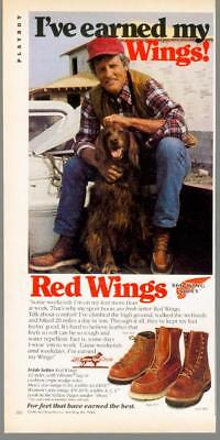 1981 Red Wing Shoes Boots Irish Setter Dog Sport Shoes Feet Vintage Print Ad 80s