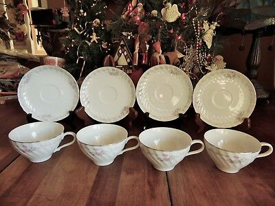 NEW OTHER(old stock) 8 PCS GOLD STANDARD PORCELAIN FINE CHINA CUPS & SAUCERS