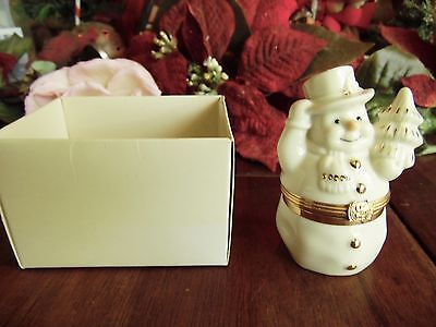 """LENOX TREASURES NEW OTHER(old stock) THE SNOWMAN'S SURPRISE BOX TRINKET 3 1/4""""H"""