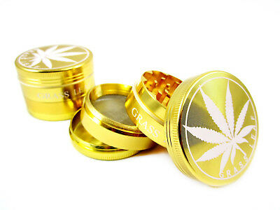 Gold Grass Leaf Herb Grinder (40 / 50mm) 3 & 4 Part Magnetic Crusher Pollinator