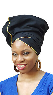 Black African Head Wrap with Gold Trim One size , scarf, 100% Cotton. DP3776H