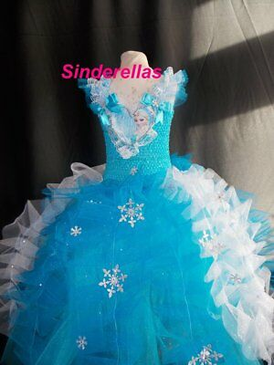 NEW! Girls Frozen Elsa (Inspired) Handmade dress Diamante's & Lace ages 1 - 10