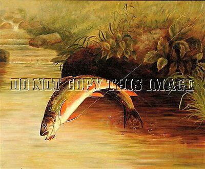 Antique Repro 8X10 Fishing Photograph Print ><> Jumping Brook Trout