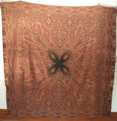 Antique Wool Indian Paisley Shawl