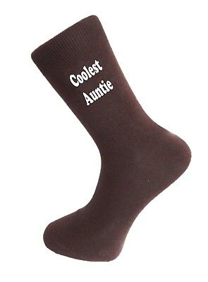 Coolest Auntie Brown Socks. Cotton Novelty Socks