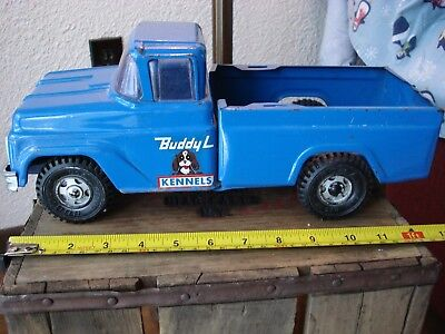 "Vintage Blue Buddy L Kennel Pickup Truck, Collectable Toy 13"" Long"
