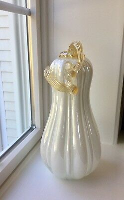 Sumptuous White Gourd Pumpkin Squash Gold Stem Ribbons Hand Blown Art Glass