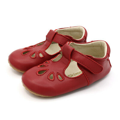 Dotty Fish Luxury Red Leather T-bar - Baby and Toddler First Walking Shoes