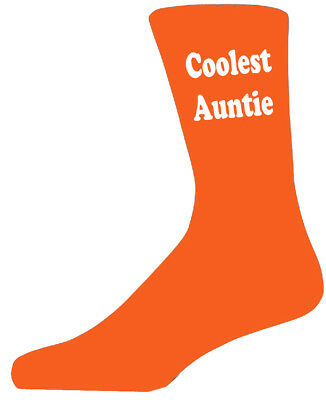 Coolest Auntie Orange Socks. Cotton Novelty Socks