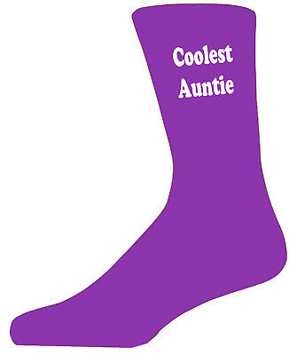 Coolest Auntie Purple Socks. Cotton Novelty Socks