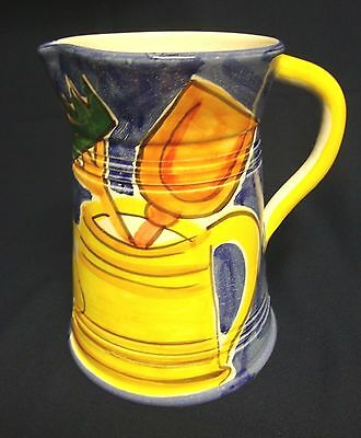 Decorative Ceramic Watering Can Container Tall Pitcher Garden Tool Motif Italy