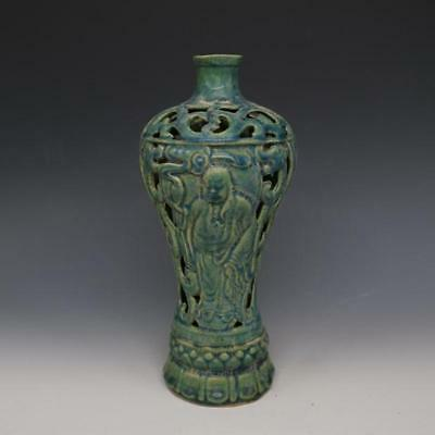 A Fine Collection of Chinese 11thC Chai Ware Porcelain Hollow out Figure Vases