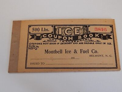 1930's Montbell Ice & Fuel Co. Belmont, NC Coupon Book for 500lbs Ice Gaston Co