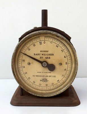 Rare Antique Hughes Baby Weight Machine England Old Baby Scale Made In England