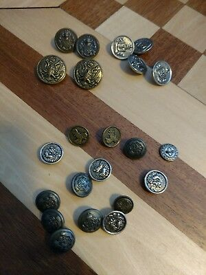 Lot of 22 antique vintage brass and or metal buttons Military, hunting, cars