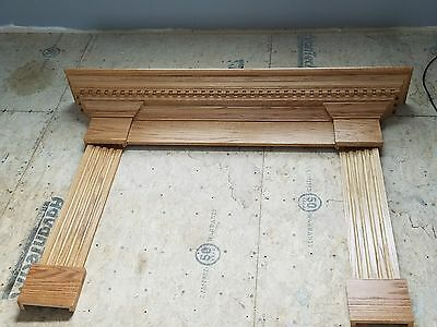 "BEAUTIFUL Solid Oak Custom Hand Crafted Fireplace Mantle 73"" x 52 1/2"""