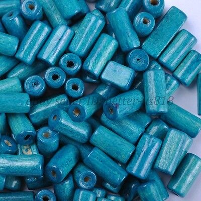 100pcs TUBE SHAPES Blue & Charms WOOD Loose BEADS & 12X6MM