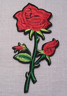 C5410 ** 7 x 12,5 cm **  APPLIQUE ÉCUSSON PATCH THERMOCOLLANT - FLEUR ROSE ROUGE