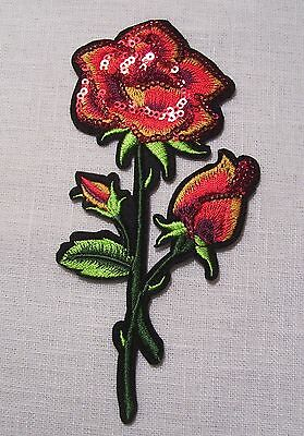 C5437 ** 7,5 x 15 cm ** APPLIQUE ÉCUSSON PATCH THERMOCOLLANT - FLEUR ROSE SEQUIN
