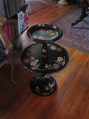 "Antique Table Hand Painted Solid Wood Two Tier Table Black With Pansies 23"" tall"