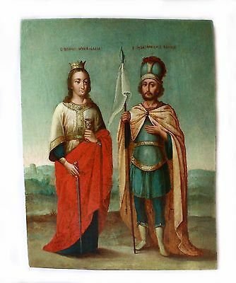 Antique 19thC Russian Hand Painted Icon (44 cm), St.Barbara and John the Warrior