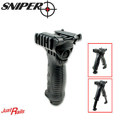 Tactical Heavy Duty Foregrip Bipod Grip Flip Out Legs Quick Attach Picatinny