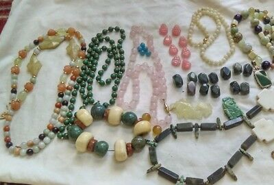 Lot Of Antique/vintage Chinese Carved Jade Pendants Necklace  And More Repair