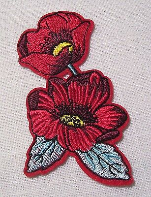C5444 ** 5,5 x 10 cm **  APPLIQUE ÉCUSSON PATCH THERMOCOLLANT - FLEUR DOUBLE