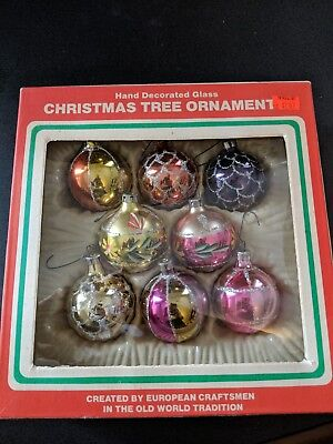 8 vintage Christmas tree ornaments hand decorated glass Commodore Romania