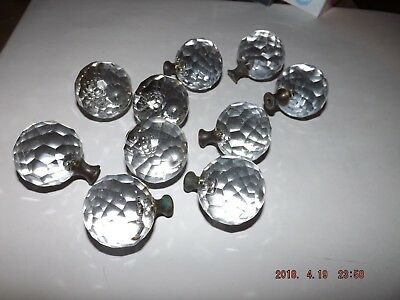 10 Vintage Antique Matching Glass Brass Door Drawer Dresser Pulls Knobs Handles