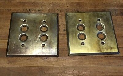 2 Vintage Antique Brass 2 SWITCH COVER for Double Push-Button Light Switch