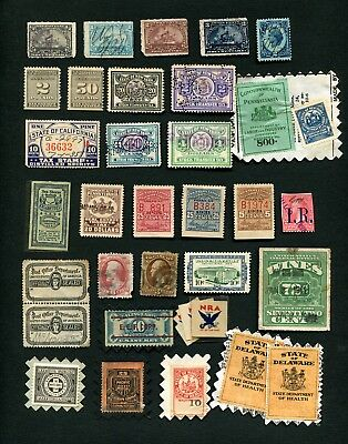 Collection of (32) U.S. Revenue, Tax & Documentary Stamps & Labels (Pre-1940)