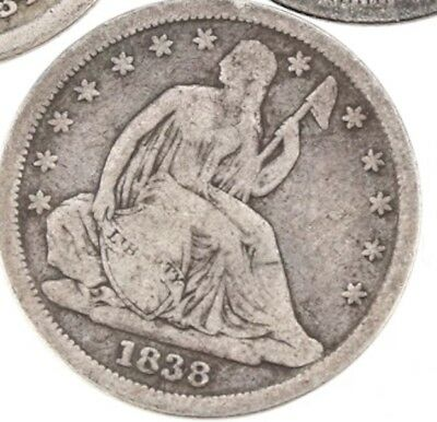 1838 Seated Dime F Original Problem-Free NO RESERVE