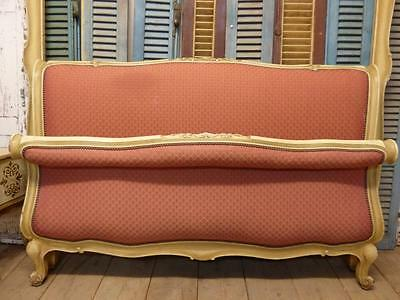 VINTAGE UPHOLSTERED KING SIZE FRENCH BED - SCROLL STYLE - 151cm wide - ha63
