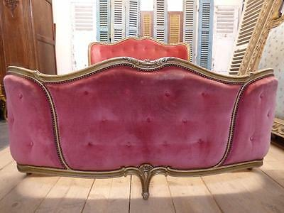 RARE VINTAGE FRENCH DOUBLE BED - FULLY CURVED BOTH ENDS - LARGER EXAMPLE - fd30