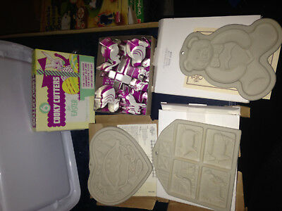Lot Pampered Chef Cookie Cutters Mold Press Clay Bear Heart Farm Easter Metal