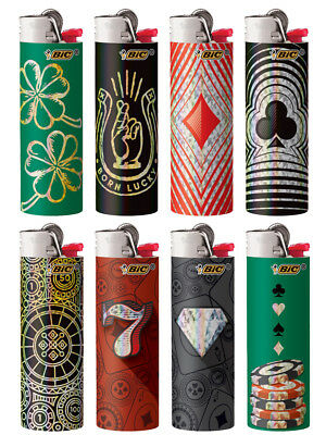 BIC Special Edition Casino Series Lighters, 2018, Set of 8 Lighters