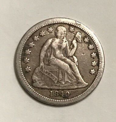 1840 WITH DRAPERY Seated Dime Key Date VF/EF Original Problem-free NO RESERVE
