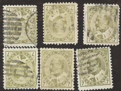 Stamps Canada # 92, 7¢, 1903, lot of 6 Used stamps.