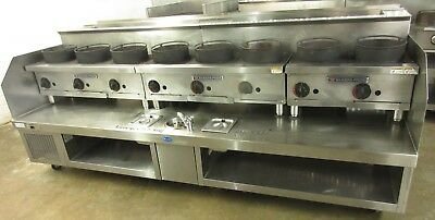 Custom 8 Ft. 8-Burner Bakers Pride Wok Hot Plate w/ SS Stand & Refrigerated Line
